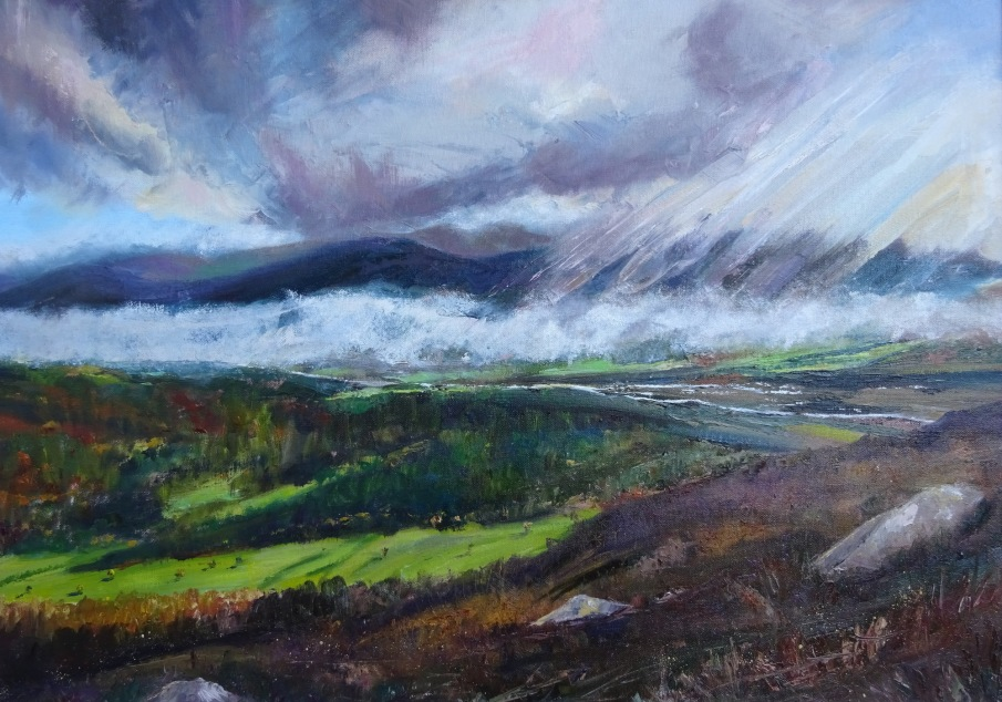 Spey Valley 50x70cms in a pewter coloured frame