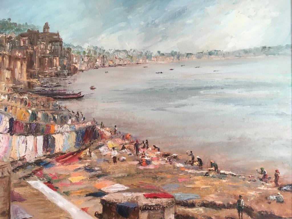 Washing day Varanasi oil painting by Anna Cumming