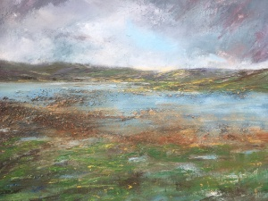 The smoky smirk o rain west coast Scotland mull of kintyre oil painting by Anna Cumming
