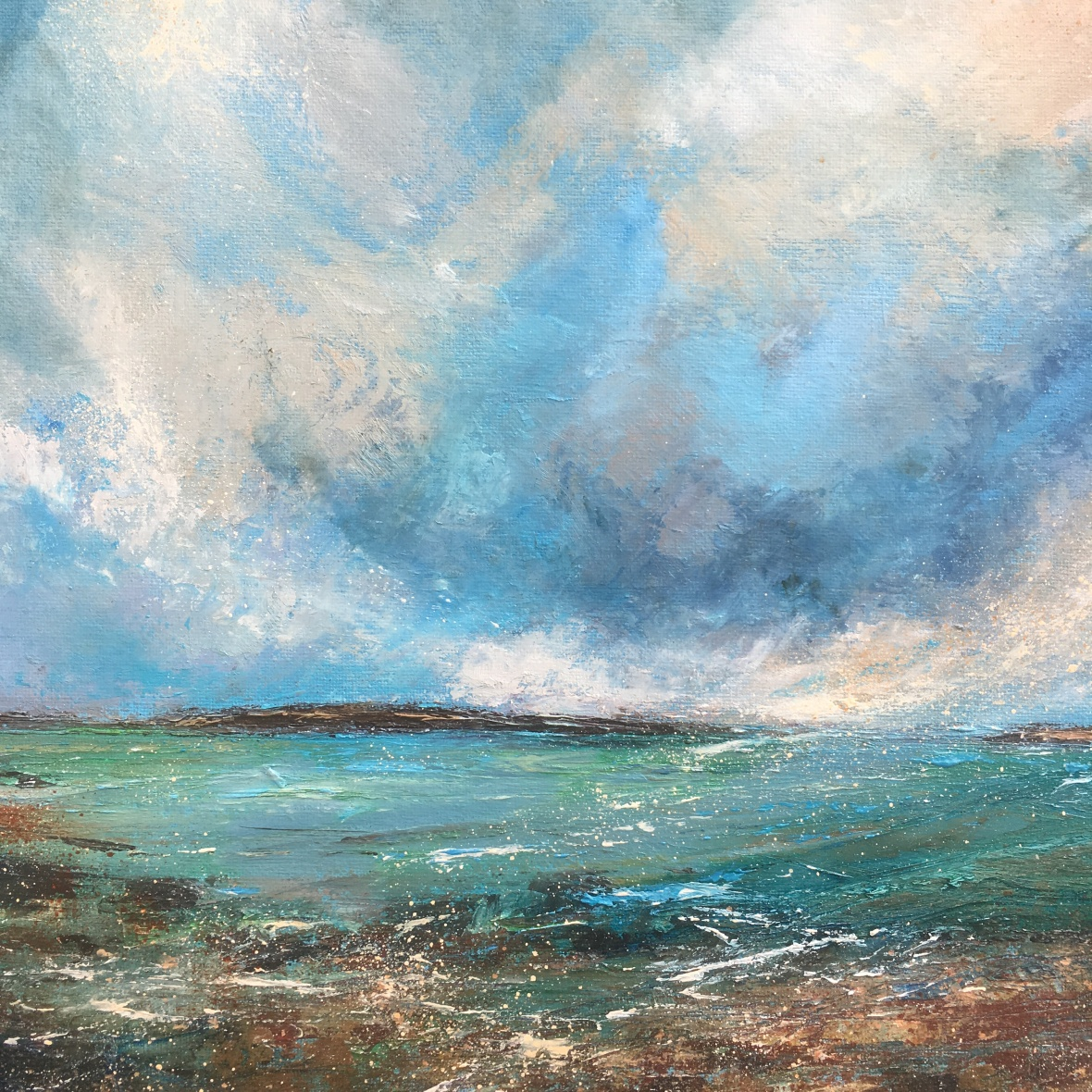 When the wind blows west coast Scotland seascape oil painting by Anna Cumming