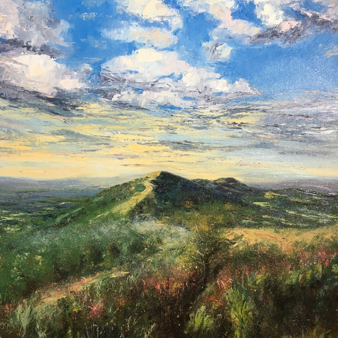 Malvern hills early morning mist oil painting by Anna Cumming