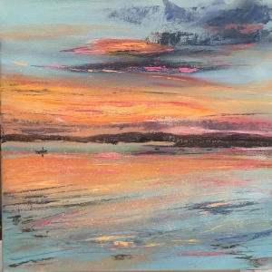 Carsaig bay sunset oil painting by Anna Cumming
