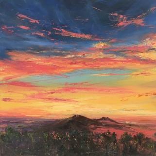 Malvern sunset, 30cm sq