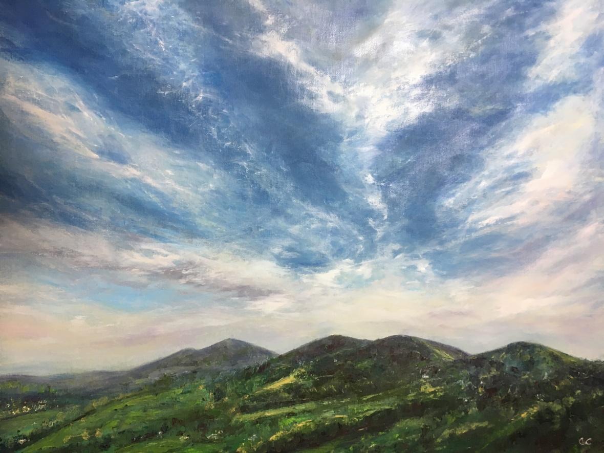 Summer Malvern Hills oil painting by Anna Cumming