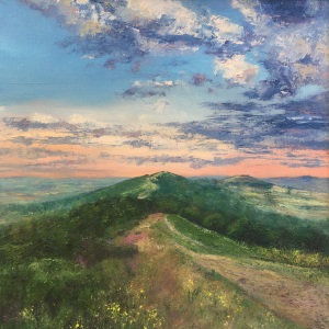 Autumn Malvern Hills oil painting by Anna Cumming