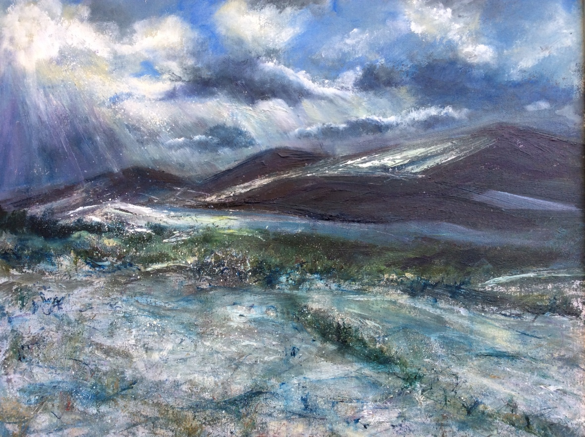 West Malvern winter oil painting by Anna Cumming