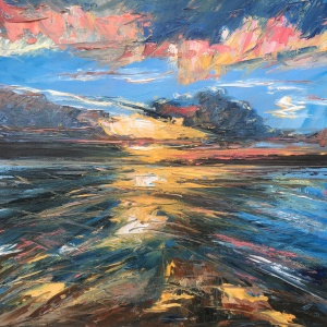 Sun burst seascape oil painting by Anna Cumming