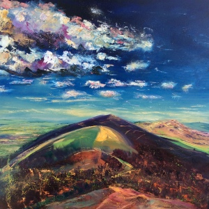 Indian summer Malvern hills oil painting by Anna Cumming