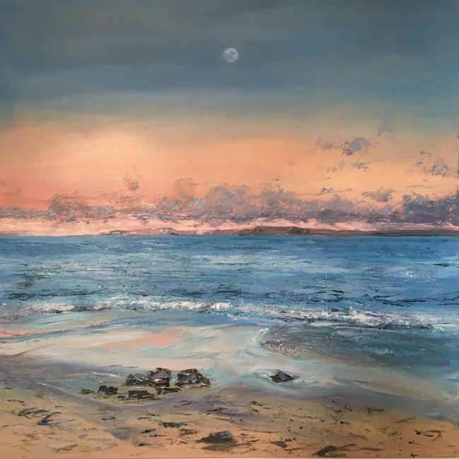 Moon over Portgwidden Beach, 61cm square