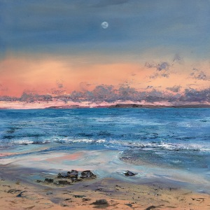 St Ives moon oil painting by Anna Cumming