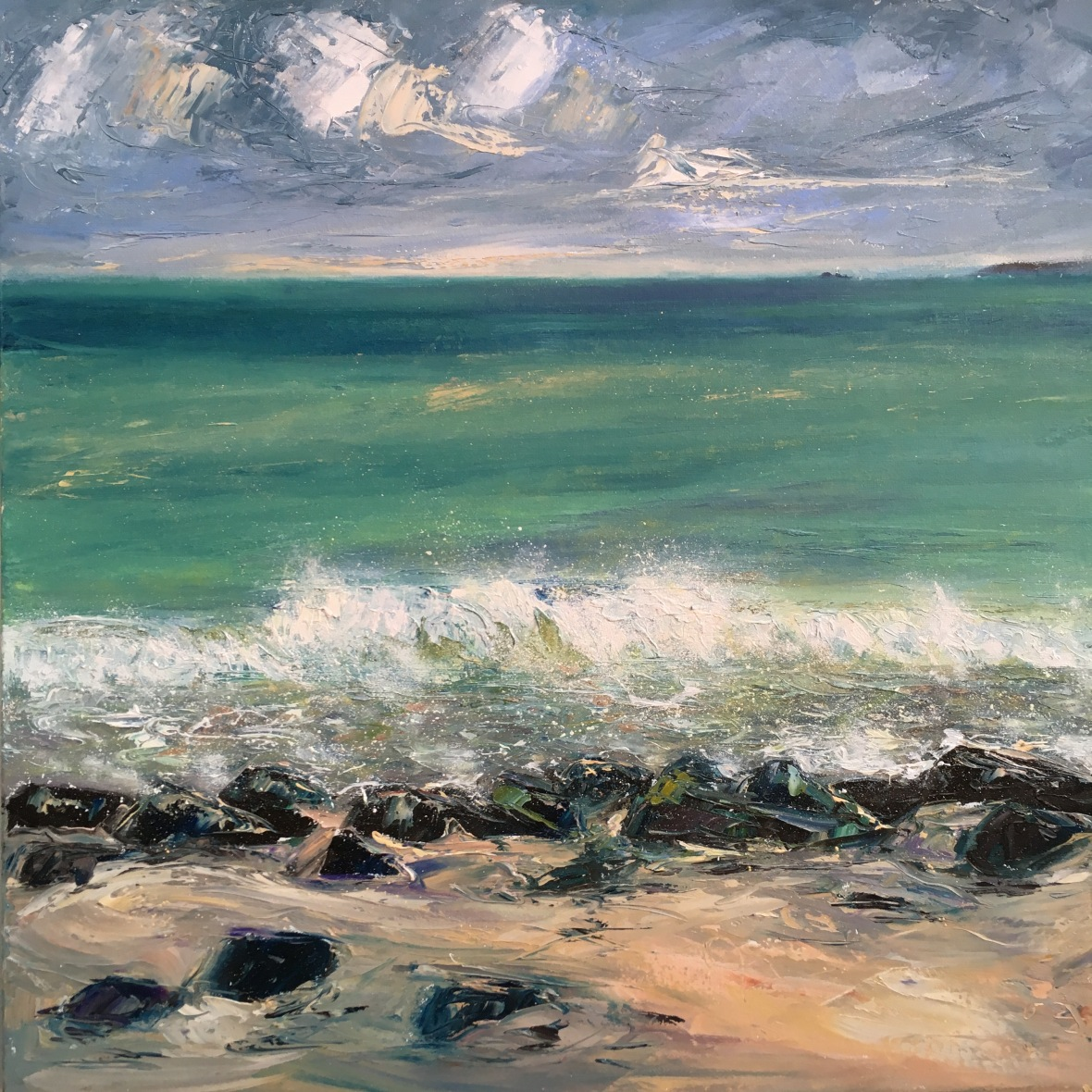 Seal bay, St Ives oil painting by Anna Cumming