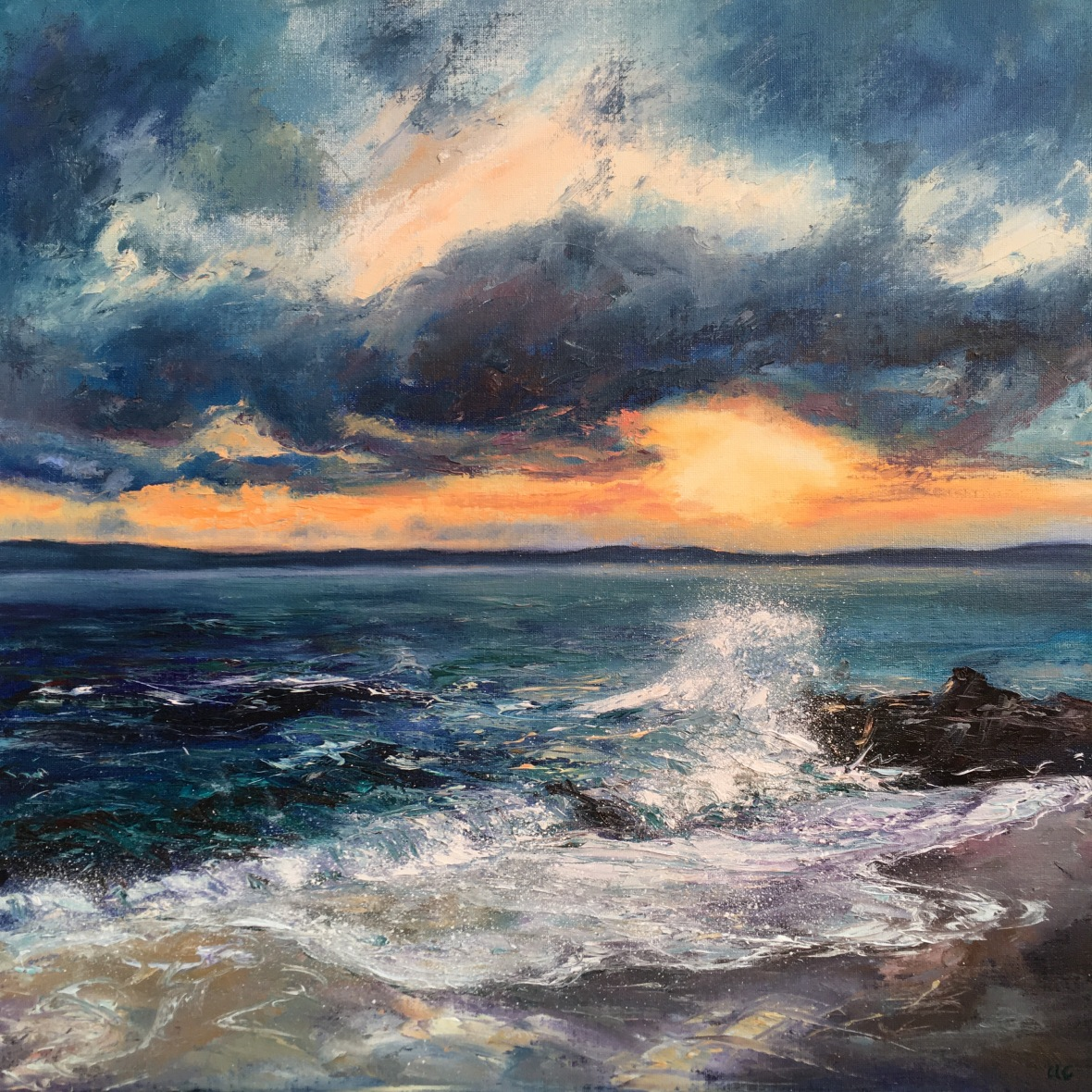 Sunrise Porthgwidden St Ives oil painting by Anna Cumming