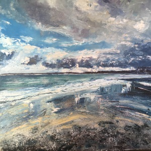 Silver sands St Ives oil painting by Anna Cumming
