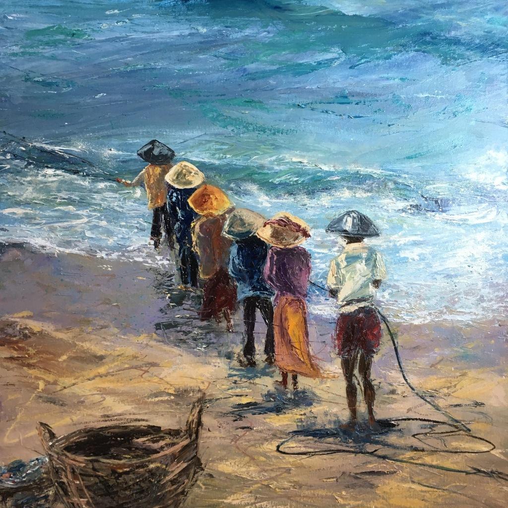Fisherfolk Pangandaran oil painting by Anna Cumming