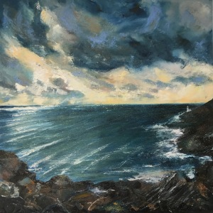 West of Lamorna lighthouse oil painting by Anna Cumming