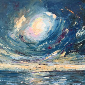Super moon oil painting by Anna Cumming