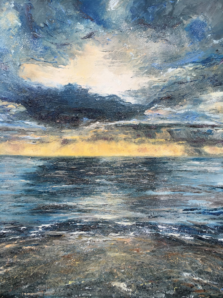 Sunset Tenby oil painting by Anna Cumming