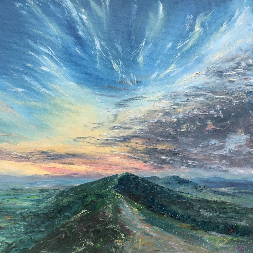 Firework sunset Malverns oil painting by Anna Cumming
