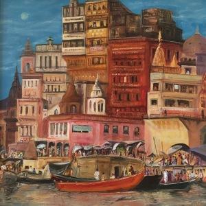 Varanasi oil painting by Anna Cumming