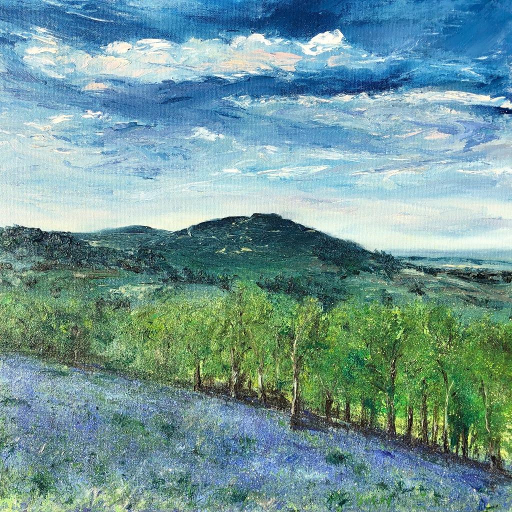 Bluebells Malverns oil painting by Anna Cumming