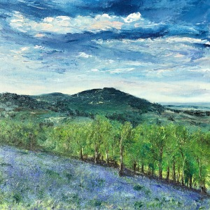 Bluebells Malverns oil painting by Anna Cumming