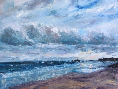 Godrevy Lighthouse St Ives oil painting by Anna Cumming