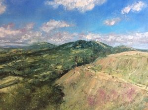 Malvern hills summer oil painting by Anna Cumming