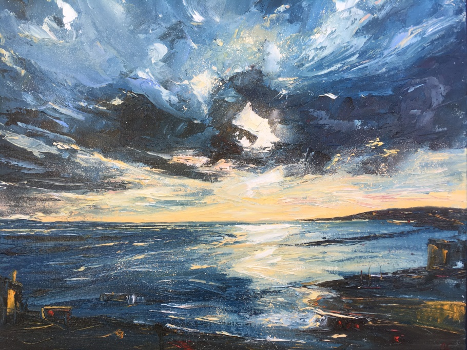 Golden Hour, St Ives oil painting by Anna Cumming