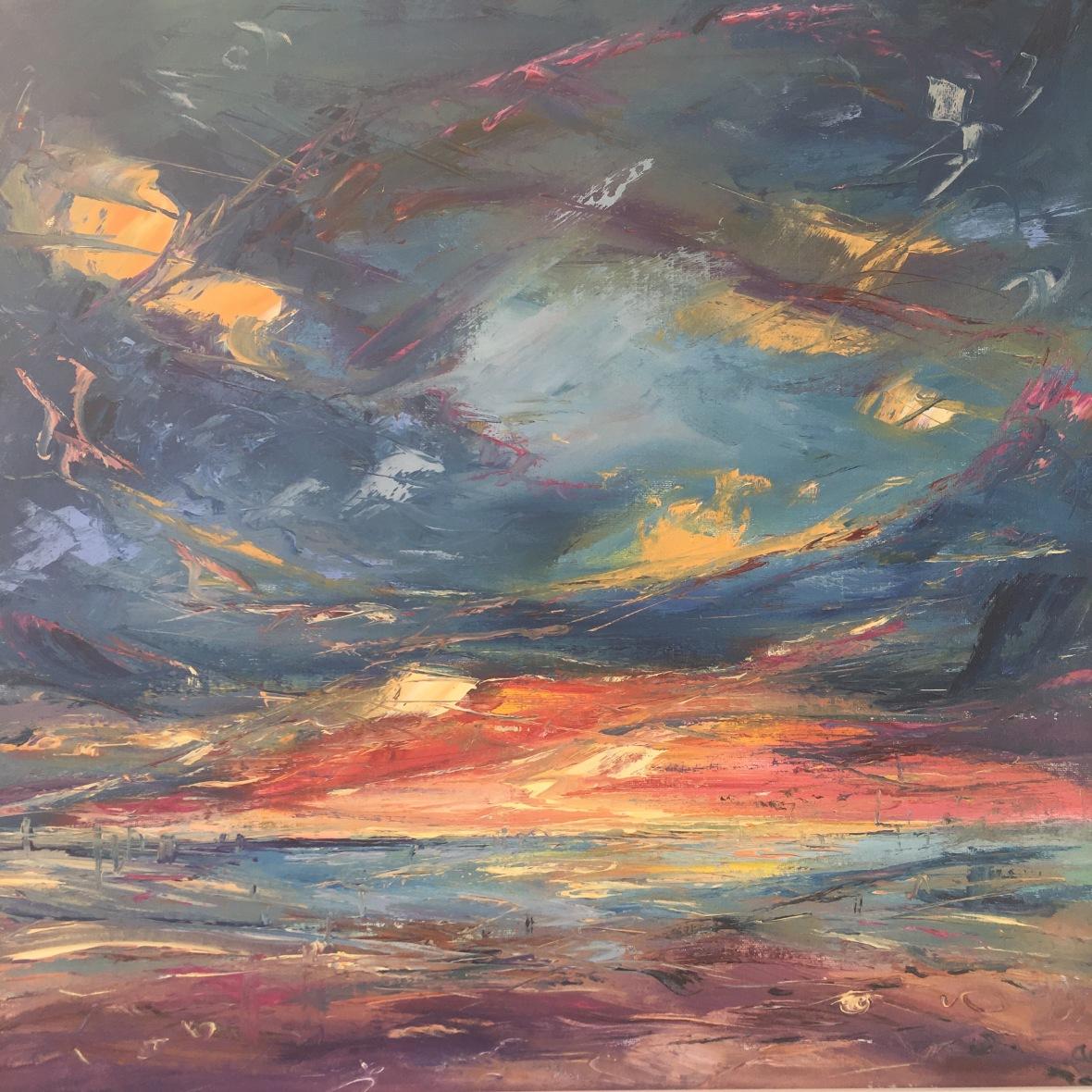 Time flies romantic seascape sunset oilpaintingAnna Cumming