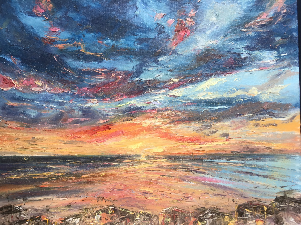 Embo beach sunrise oil painting by Anna Cumming