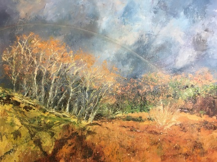 Raitts cave Kingussie oil painting by Anna Cumming
