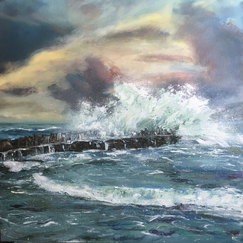 Stormy seas at Embo Pier, 50cm sq
