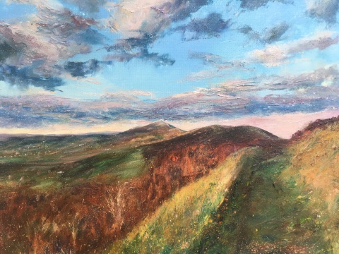Malverns, winter Golden Hour, 50x60cms