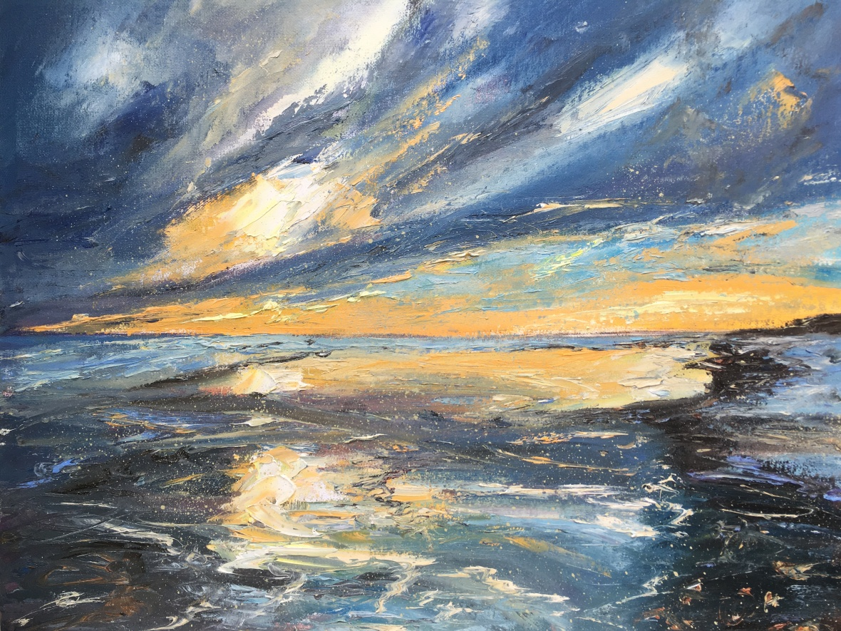 Sunrise reflected in wet sand oil painting by Anna Cumming