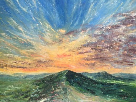 Malvern Hills sunburst, 40x50cms