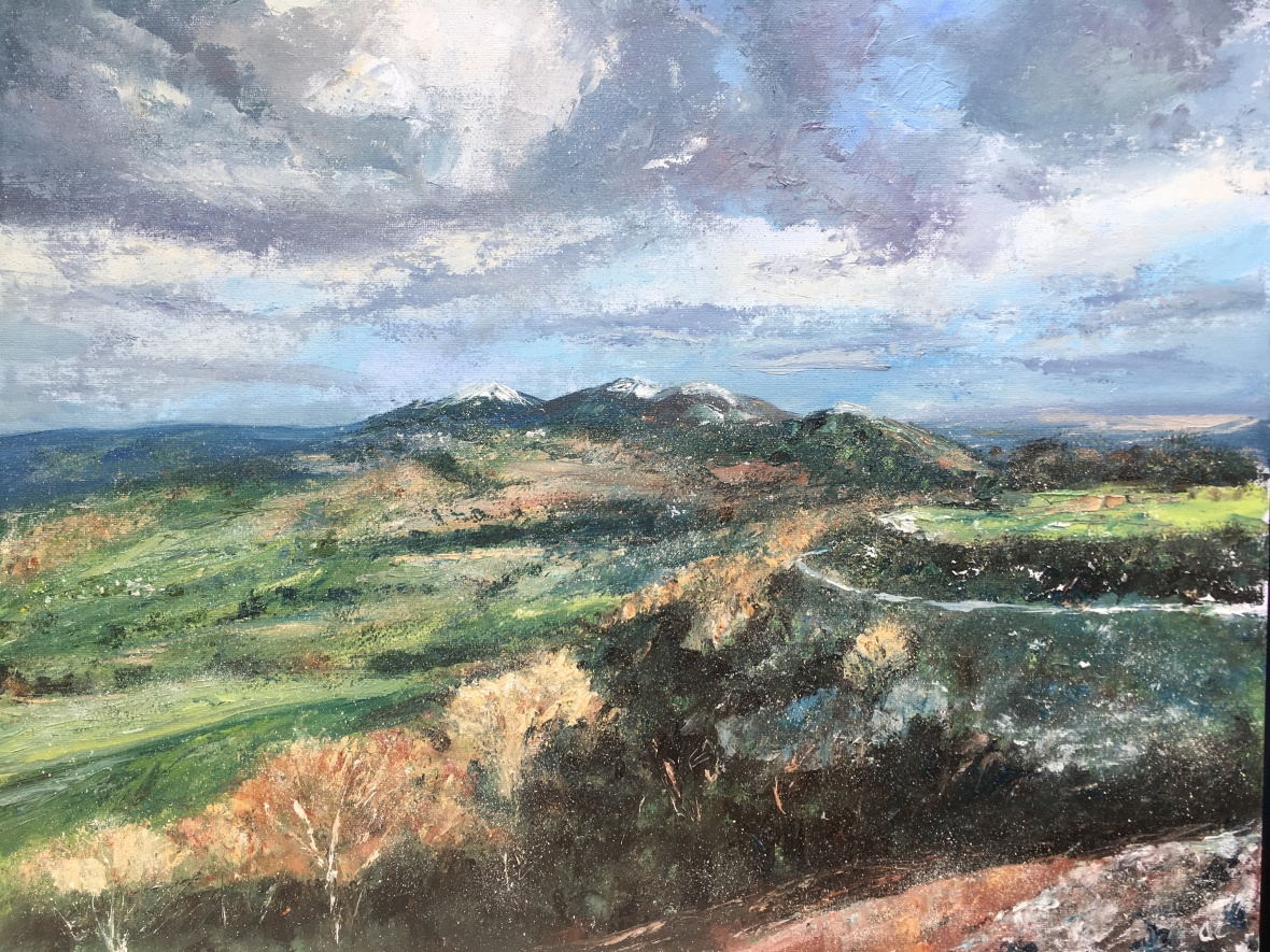 Snow dusted Malvern hills oil painting by Anna Cumming