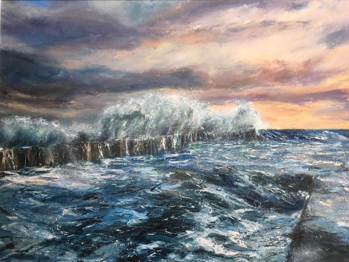 Crashing wave Embo pier oil painting by Anna Cumming