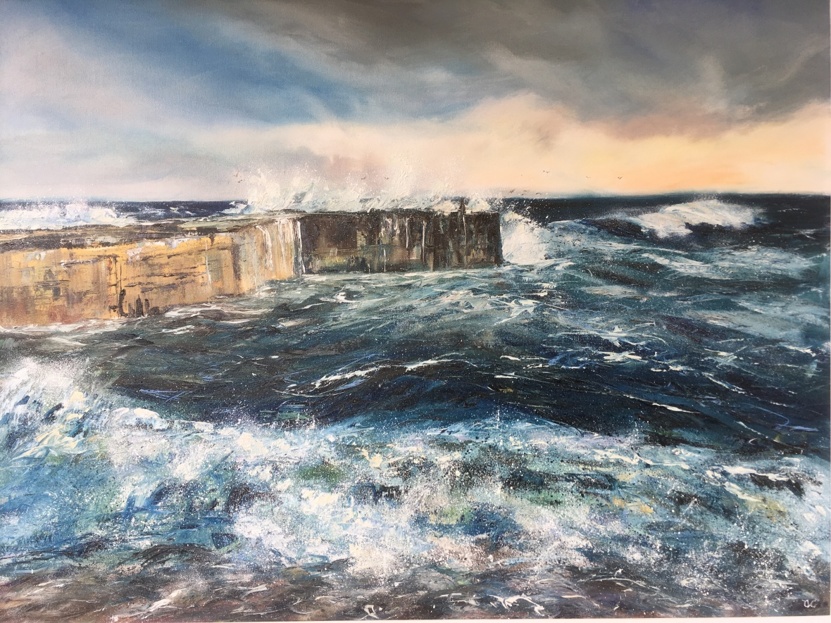 Embo pier oil painting by Anna Cumming