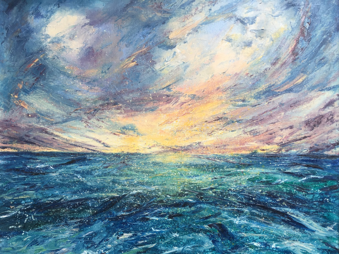 Infinity seascape oil painting by Anna Cumming