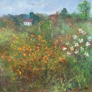 Allotments oil painting by Anna Cumming