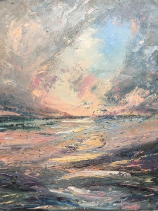 Storms end romantic seascape by contemporary artist Anna Cumming