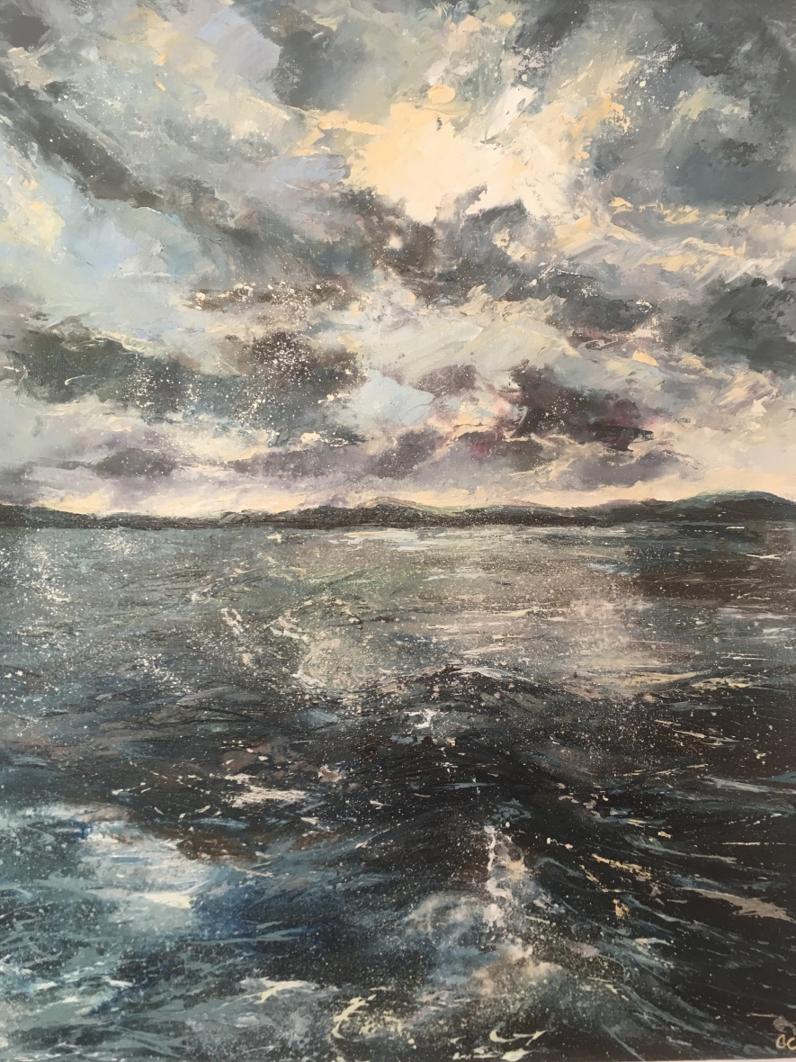 In our wake seascape looking towards Mull from Oban. Oil painting by Anna Cumming
