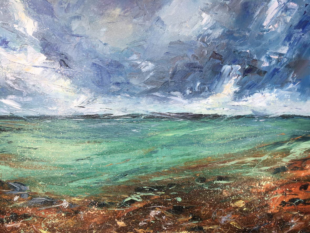 Tangled up in blue seascape west coast Scotland mill of kintyre by Anna Cumming