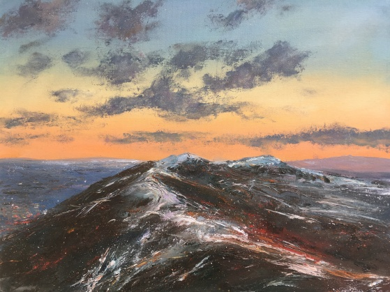 Malverns - February snow and sunset, 40x50cms