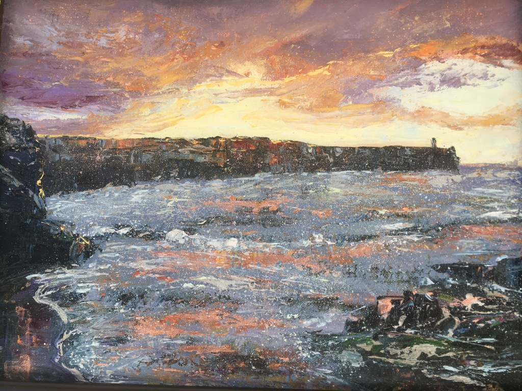 Sunrise Embo pier oil painting by contemporary artist Anna Cumming