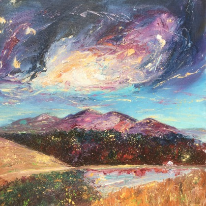 Mystical Malverns oil painting of Malvern hills from British Camp by Anna Cumming