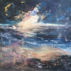 Falling stars, seascape moonlight oil painting by Anna Cumming