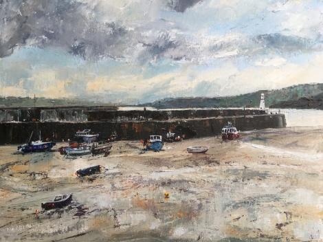 Low tide, St Ives Harbour, 40x50cms