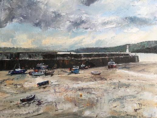St Ives harbour oil painting by Anna Cumming