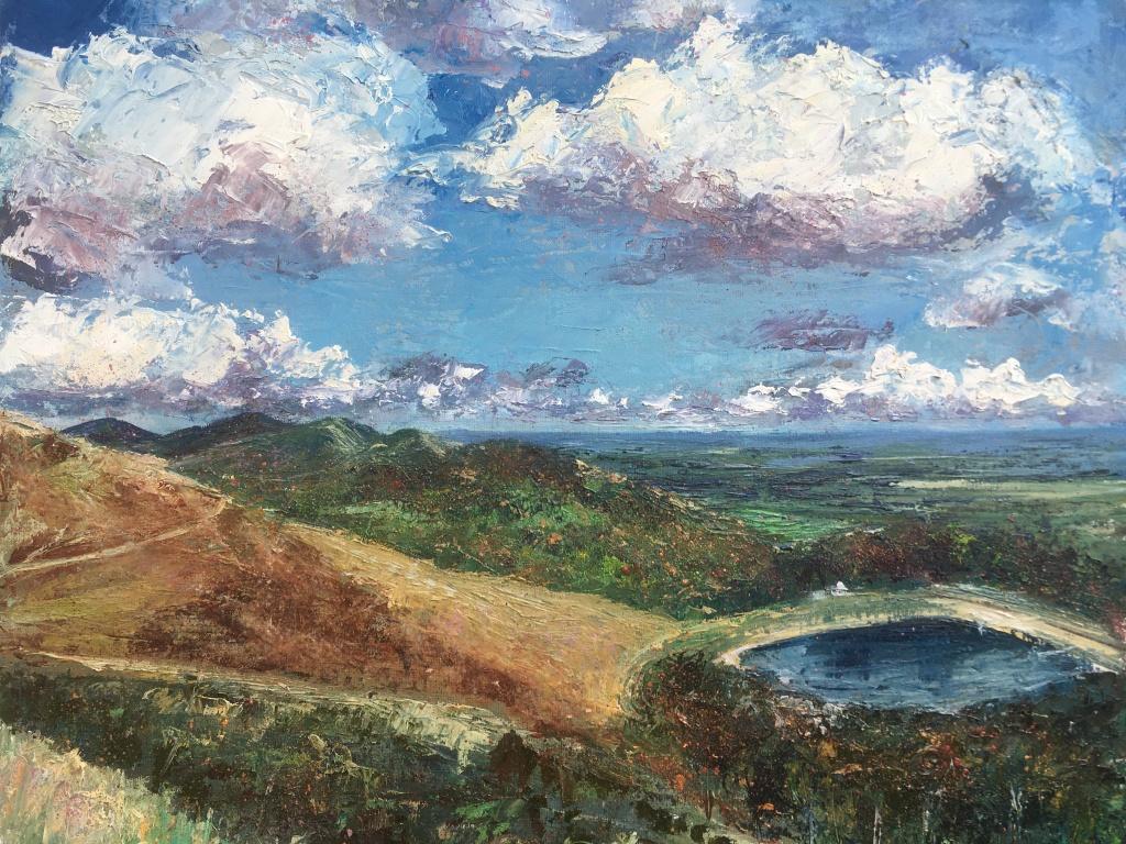 Autumn sunshine, British Camp Malvern Hills oil painting by contemporary artist Anna Cumming